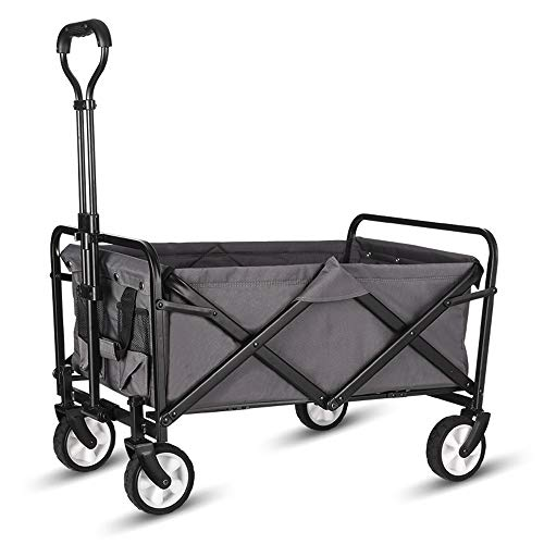 "WHITSUNDAY Collapsible Folding Garden Outdoor Park Utility Wagon Picnic Camping Cart 5"" Solid Rubber Wheels"