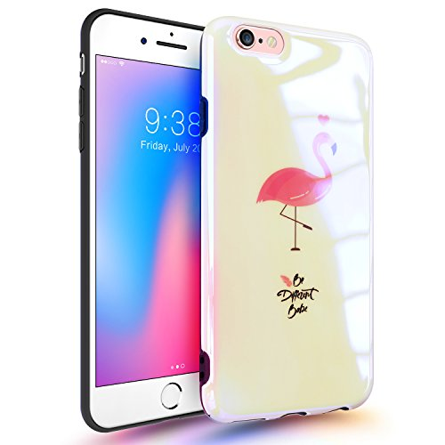 iPhone 6 Plus Case with Shining Pattern Design, GVIEWIN Glossy Soft & Flexible Silicone Ultra-Thin Shockproof Rubber Cover for iPhone 6s Plus (Flamingo/Pink)