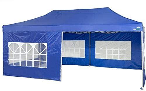 MaxxGarden - Cenador Impermeable de 3 x 4 m, Incluye Bolsa, protección UV 50+, Plegable, para jardín, con Paredes Laterales, Color Azul: Amazon.es: Jardín