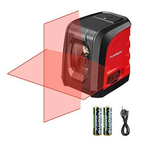 FLOUREON Laser Level Self-Leveling Horizontal and Vertical Cross-Line Laser, Tripod Mount Base, IP54 Waterproof, Dustproof, Shockproof, Dual Ways to Charge (Battery & Type C Included)
