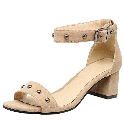 TAOFFEN Mujer Punta Abierta Sandalias Clasico Tacon Ancho Tacon Medio Remache Verano Zapatos Beige