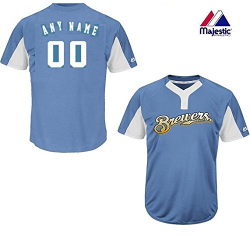 Majestic CUSTOM Adult Large Milwaukee Brewers 2-Button Placket Cool-Base MLB Licensed Jersey (Milwaukee Brewers Baseball White)