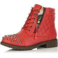 DailyShoes Women's Military Combat Boots Quilted Hiking Lace up Buckle Ankle High Exclusive Credit Card Pocket