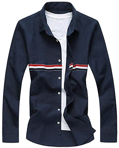 Edna Ho casual Mens Lapel Long Sleeves Color Stripe Button Down Shirts Navy BlueUS Small-(China (Morph Suit Price)