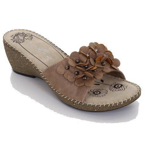 Sapphire Sandalias para Cuña para Damas, con Flor de Adorno Beige