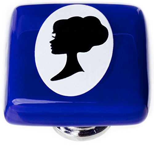 Sietto K-1174-PC New Vintage Square Woman Cameo Knob with Polished Chrome Base, Cobalt