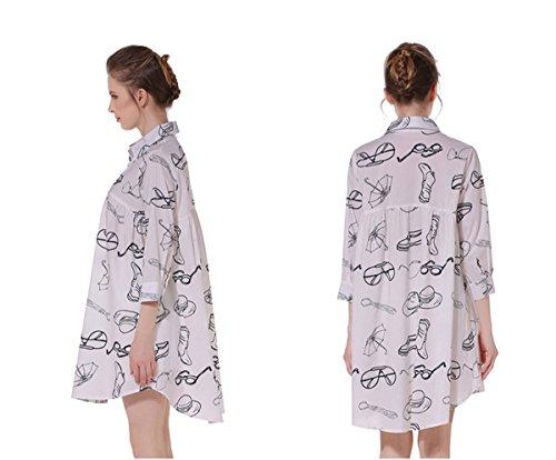 Camicia Gira Della Sveglia Abito M A Giù Manica M Maglia Bianco Tag Ci Lunga Dell'oscillazione Stampa qEXUrExtw
