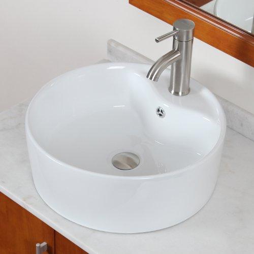 ELITE Bathroom Round Ceramic Porcelain Vessel Sink & Short Brushed Nickel Single Lever Faucet Combo