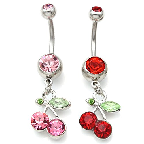 - Pink and Red Cherry Belly Button Ring Fruit Charm Fashion Jewelry Set