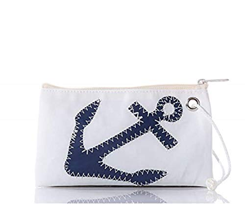 "Sea Bags Navy Anchor Wristlet Zip Top Wristlet Recycled Sailcloth Wristlet Nautical Wristlet 8""l X 5""h"