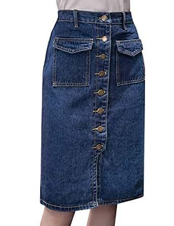 Tanming Women's Casual High Waist Button Front Midi Maxi Pencil Denim Jean Skirt (Small, Blue)