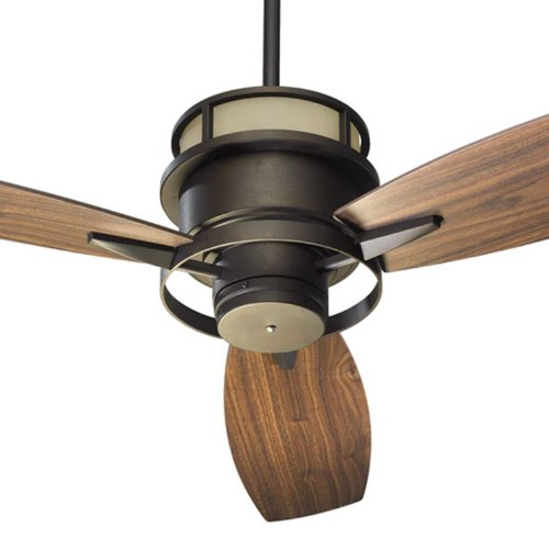 (Quorum International 54543-86 Bristol 54-Inch Ceiling Fan, Oiled Bronze Finish with Amber Scavo Up Glass and Walnut Blades)
