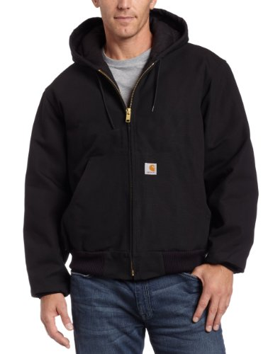 Carhartt Men's Big & Tall Quilted Flannel Lined Duck Active Jacket J140,Black,XXXX-Large Tall