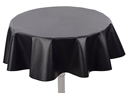 "Yourtablecloth Heavy Duty Flannel Backed Round Vinyl Tablecloth – 6 Gauge Thickness, Indoor and Outdoor & Easy to Clean 60"" Black -"