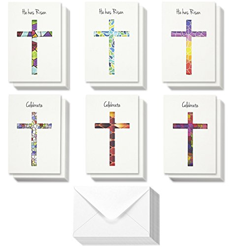 36-Pack Easter Greeting Cards - Happy Easter Note Cards - Easter Day Religious Cut Out Cross Designs - Boxed Greeting Cards Assortment, Blank on the Inside, 4 x 6 Inches ()