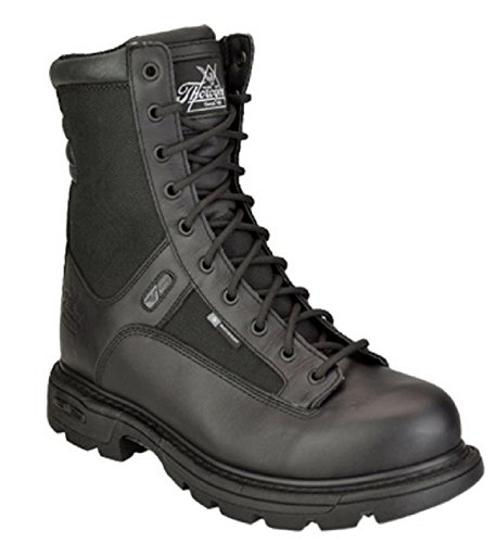 8' Waterproof Tactical Boot (Thorogood Men's Trooper 8'' Side Zip Insulated Boots, Black Leather, 8 W)