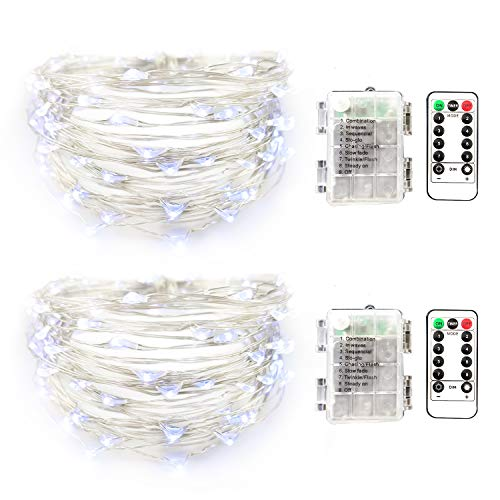 illumiForce LED String Lights, Twinkle Fairy Lights Battery Operated, 16.4ft 50LEDs, 8 Light Modes with Remote Control, Decorations for Patio Garden Christmas Home Decor, Pure White 2 Sets from illumiForce