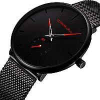 Reloj de pulsera para hombre, color azul profundo, ultra fino, para hombres, a la moda, impermeable, correa de acero inoxidable
