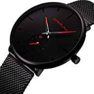Men's Watch Unisex Minimalist Watch Waterproof Watch Classic Gift Mesh with Red Pointer
