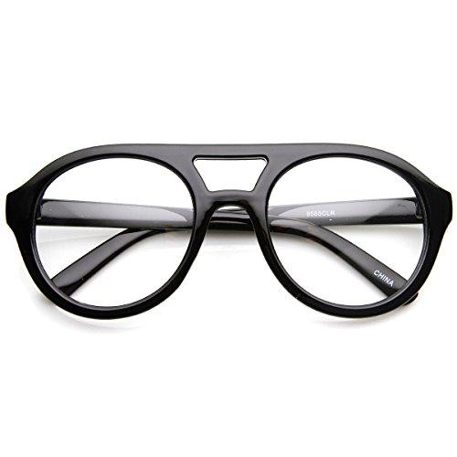 zeroUV - Retro Bold Thick Frame Round Clear Lens Aviator Glasses - Frames Black Bold Glasses