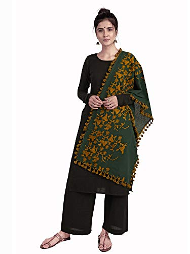 MaBelle 100% Khadi Cotton Fabric Trendy Design Embroidered Unisex Stole With Dazzling Cotton Lace,-01 Piece/Breath : 51 cm/Lenght : 178cm/Work : Embroidered – Green
