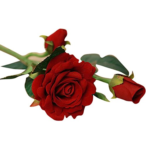ZYooh 5pcs Real Latex Touch Rose Flowers,Bridal Bouquet Home Wedding Decoration Garden Floral Decor Flowers Bunch Hotel Party (deep red)