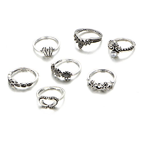 Lureme 7 Pcs Turkish Elefante corona Joint Knuckle Midi Anillo Set Boho Anillo Set (rg001863)