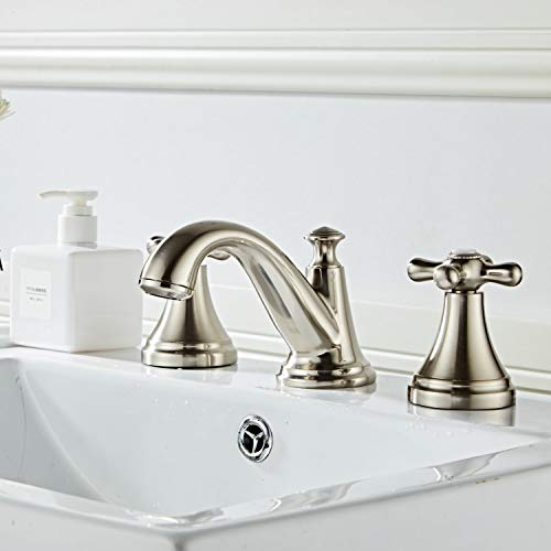 Bathroom Sink Faucet,Widespread Lavatory Faucet with 2 Cross Handles 3 Holes,Brass Construction,Brushed Nickel ()