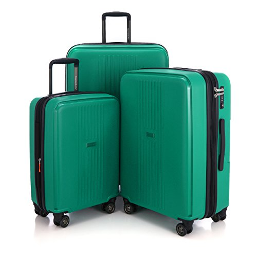 "HAUPTSTADTKOFFER - Ostkreuz - Set of 3 Hard-side Luggages matt Suitcase Hardside Spinner Trolley Expandable (20"", 24"" & 28"") TSA F-Green by Hauptstadtkoffer"