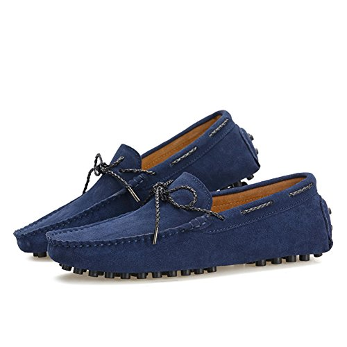 Shenn Men's Driving Car Casual Lace Up Navy Suede Loafer Flats UK7.5 9388 JmeY1d