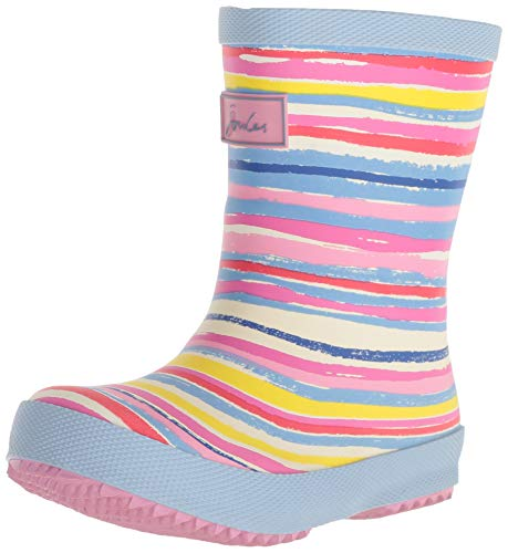 Print Wellies - Joules Girls' Baby Welly Print Rain Boot, White Rainbow, 8 M US Toddler