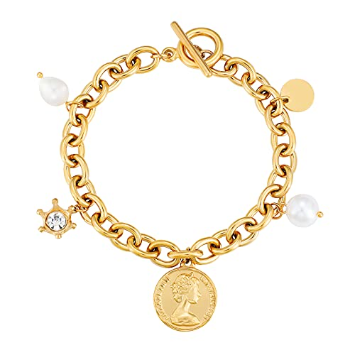 Buleens Charm Bracelet for Women Girls Teen Chunky 18k Gold Paperclip Link Toggle Bracelet with Coin Queen Pearl Charms