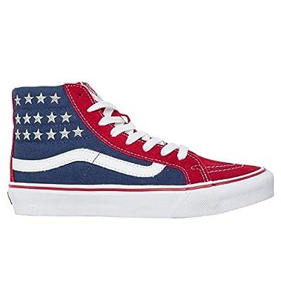 Vans Womens SK8 Hi Slim Studded Stars Red Blue Textile Trainers 7.5 US