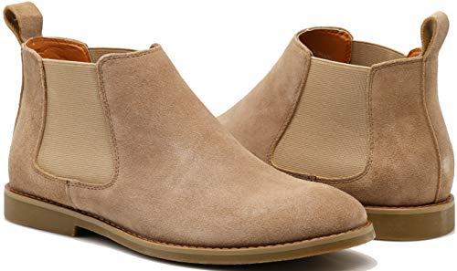 Enzo Romeo CO01 Men's Chelsea Boots Dress Fashion Slip On Suede Leather Ankle Boots (13 D(M) US, Camel) ()
