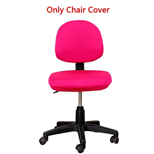 Loghot Comfortable Soft Chair Covers Split Computer Office Desk Slipcovers Stretch Rotating Polyester Spandex Chair Pads Covers (Rose Red)