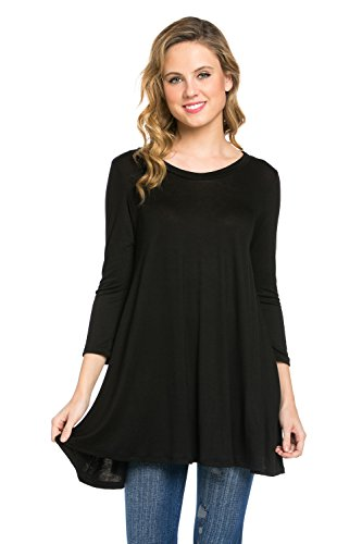 Frumos Womens 3/4 Sleeve Comfy Loose Fit Long Tunic Top Black 2X-Large