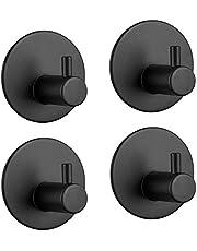 Självhäftande, LYLIN självhäftande handdukskrokar handdukshållare utan borrning, vattentät rostfri väggkrok badrockskrok självhäftande krok för badrum toalett kök (svart, 4 stycken)