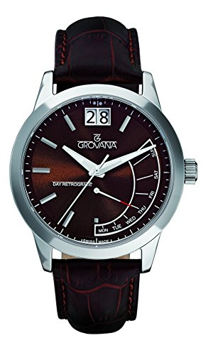 Grovana Men's 1722-1535 Retrograde Analog Display Swiss Quartz Brown Watch