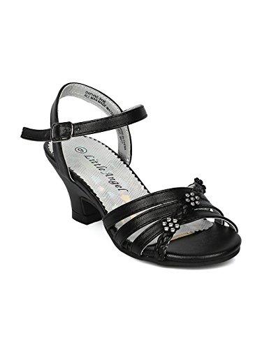 Alrisco Girls Open Toe Rhinestone Flower Ankle Strap Kiddie Heel Sandal HC27 - Black Leatherette (Size: Toddler 4) by Alrisco