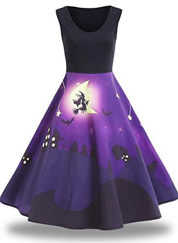 Women Halloween Dresses A-Line Sleeveless Vintage Dress Witch Pumpkin Bat Skull Print Cocktail Swing Party Dress ()