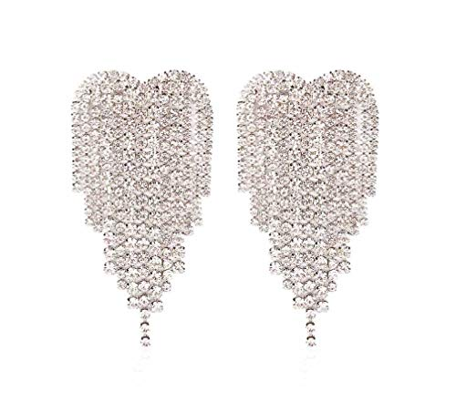 GUYUEXING Full Rhinestones Tassels Heart Shape Large Sparkling Dangle Earrings for Women (Silver)