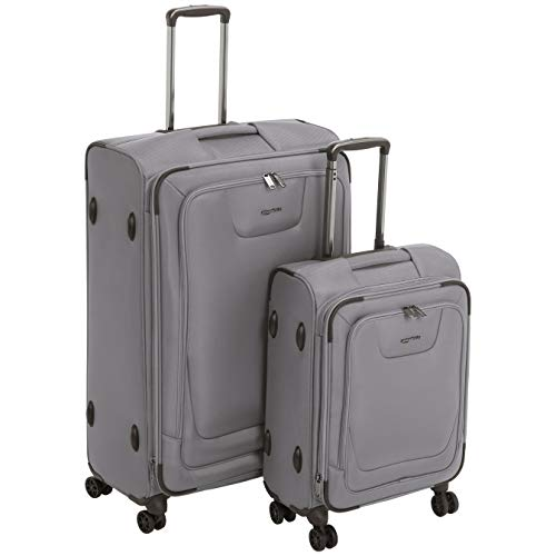 AmazonBasics 2 Piece Expandable Softside Spinner Luggage Suitcase With TSA Lock And Wheels Set - Grey (Best 2 Piece Carry On Luggage Sets)