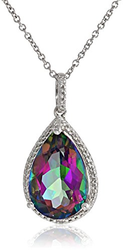 Mystic Topaz Diamond Necklace (Sterling Silver Mystic Fire Topaz and Diamond Accented Pear Shape Pendant Necklace, 18