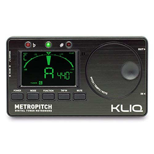 KLIQ MetroPitch - Metronome Tuner for All Instruments - with Guitar, Bass, Violin, Ukulele, and Chromatic Tuning Modes - Tone Generator - Carrying Pouch Included, Black ()