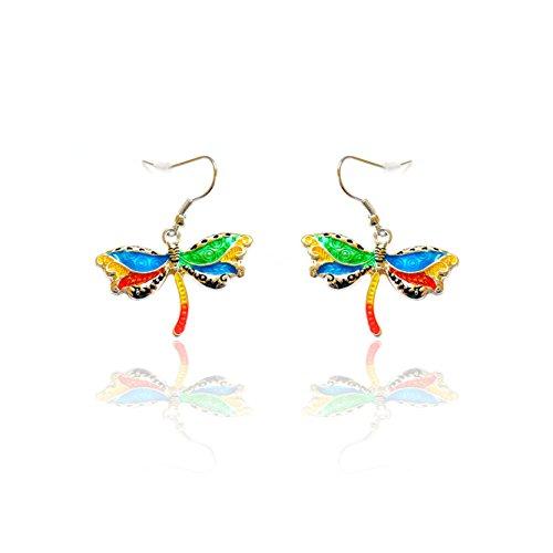 Joji Boutique: Multicolored Enameled Dragonfly Drop Earrings