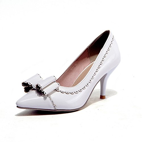 femme pour Pumps BalaMasa shoes toe Pointed Blanc Ruffles verni Cuir FHTw65q1