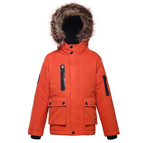 Rokka&Rolla Boys' Water-Resistant Hooded Heavy Padded Winter Coat Lined Thickened Insulated Parka Anorak Puffer Jacket Mandarin Orange (Insulated Hooded Parka)