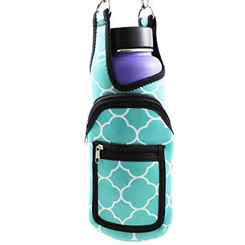 (BlankIt! Concepts Kisa Water Bottle Holder Carrier Flask Bottles Adjustable Shoulder Hand Strap 2 Pocket Sling Neoprene Sleeve Hiking Travel 16oz 17oz 20oz 24oz 25oz 32oz 40oz (Aqua Trellis))