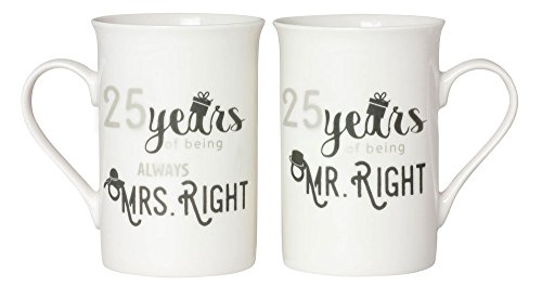 Designer 25th Anniversary Mr Right & Mrs Always Right Mug Gift Set by Haysoms by Haysoms