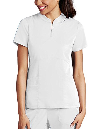Grey's Anatomy Women's Zip Mandarin Collar Solid Scrub Top XX-Large White